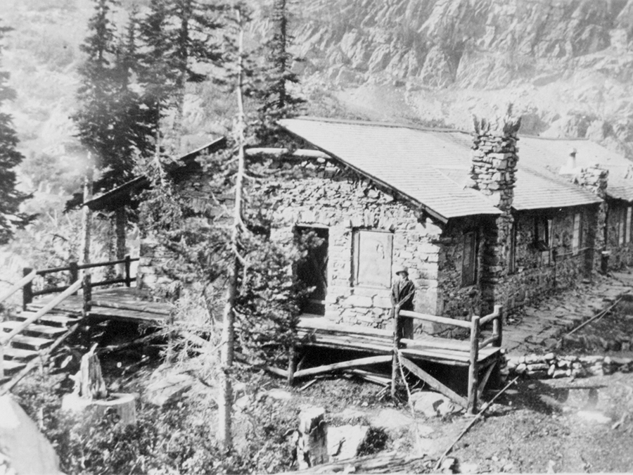 Dining room at Sperry Chalet, circa 1920.