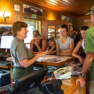 Ranger talking to visitors