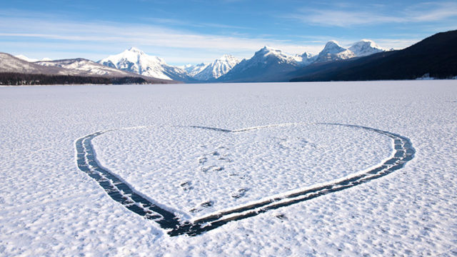 Heart in Snow on Lake McDonald