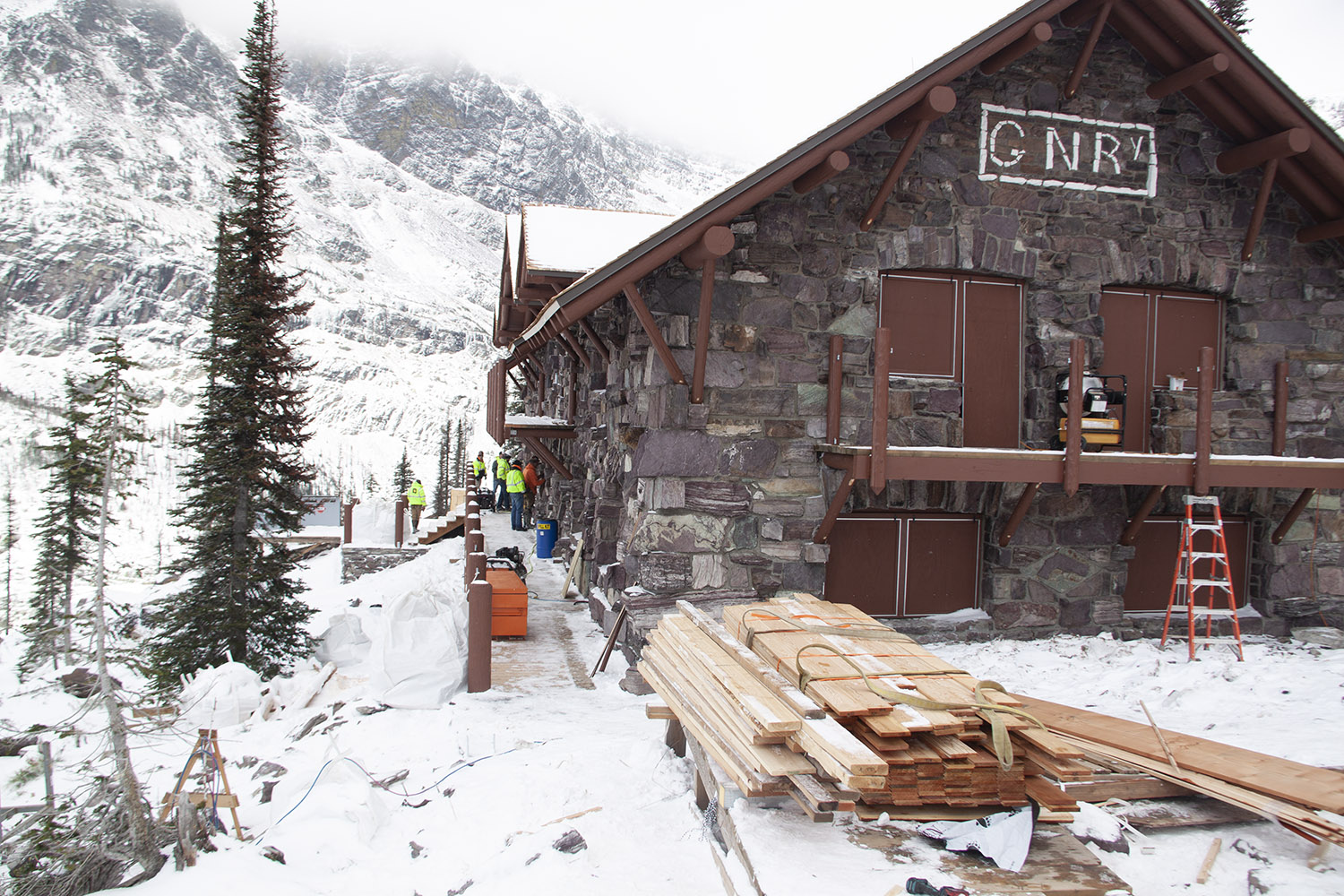 Sperry Chalet during construction Phase 2 with light snowfall