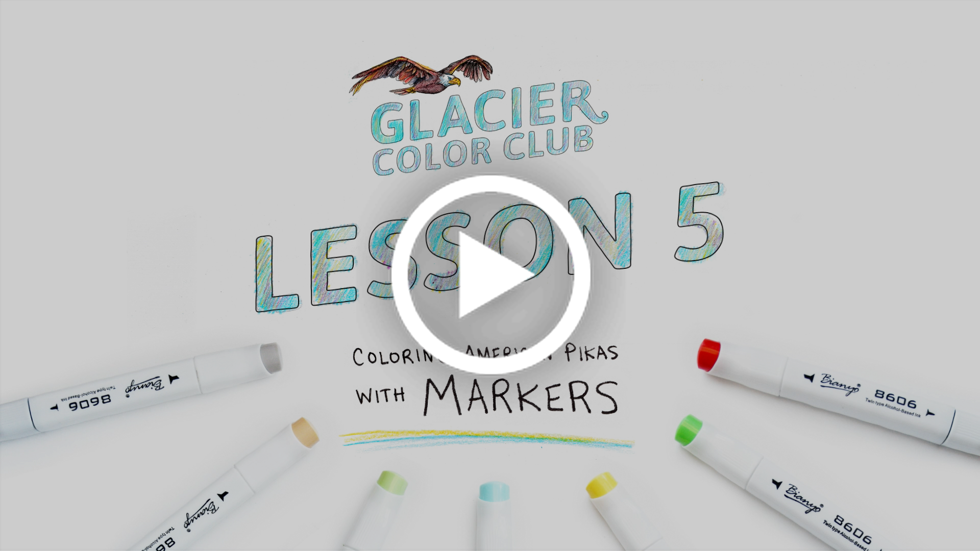 A still image of Glacier Color Club Lesson 5, featuring a coloring tutorial using markers