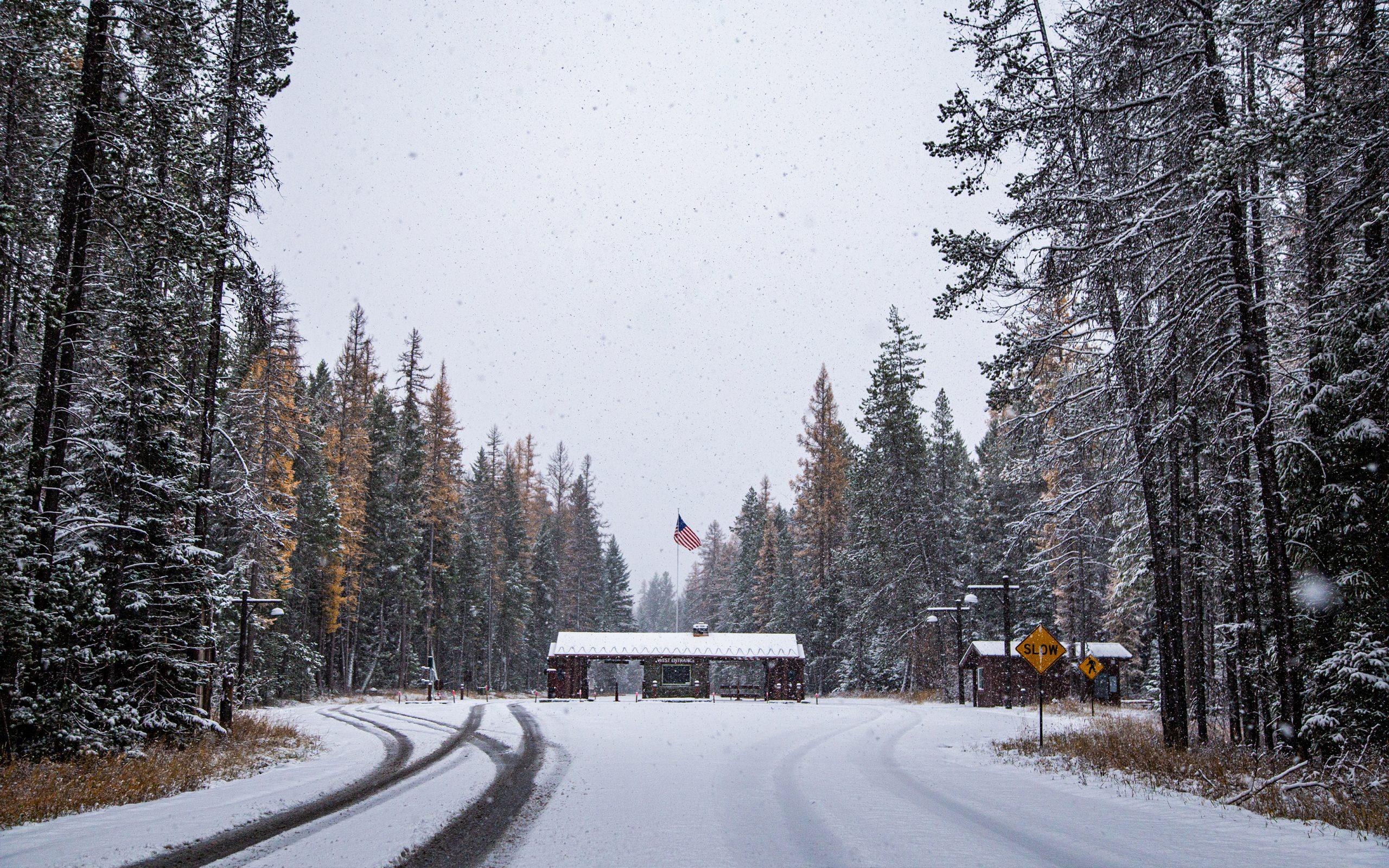 West Entrance of Glacier National Park after fresh snow