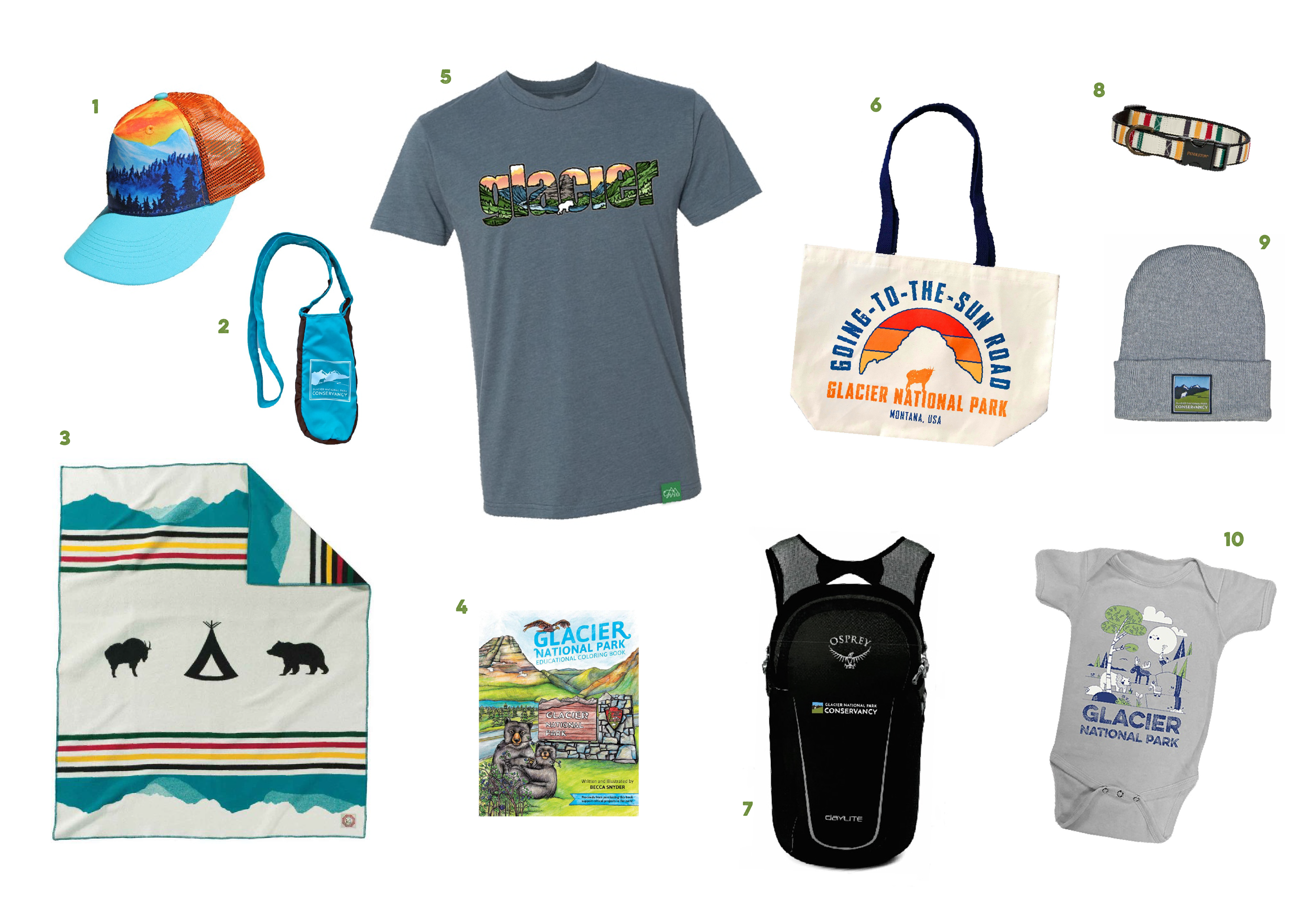 A collage showcasing a variety of Glacier National Park retail products