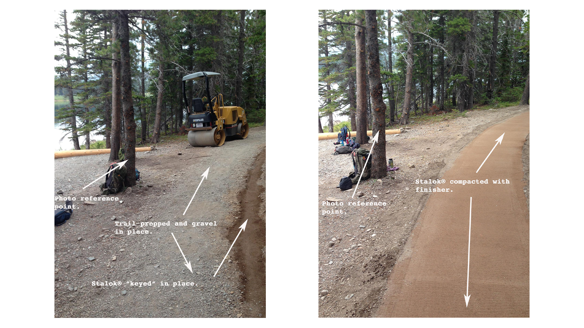 A photo collage showing before and after images of trail work being done on a trail along a forested lakeshore