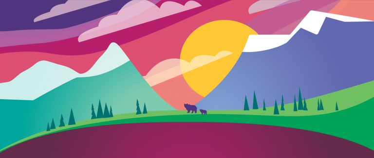 Graphic of mountains, sunset and bears.