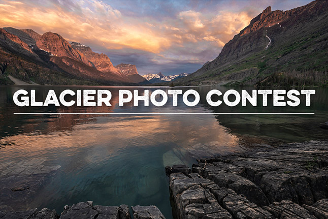 "An alpine lake with mountains in the background and text that reads ""Glacier Photo Contest"""