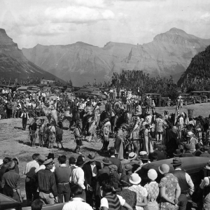 Blackfeet and Flathead Indians dance at Going-to-the-Sun Road Dedication