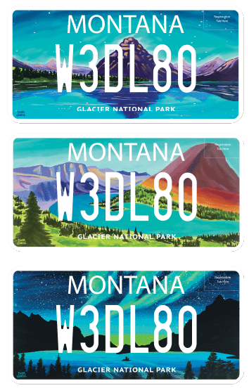 Glacier license plate designs