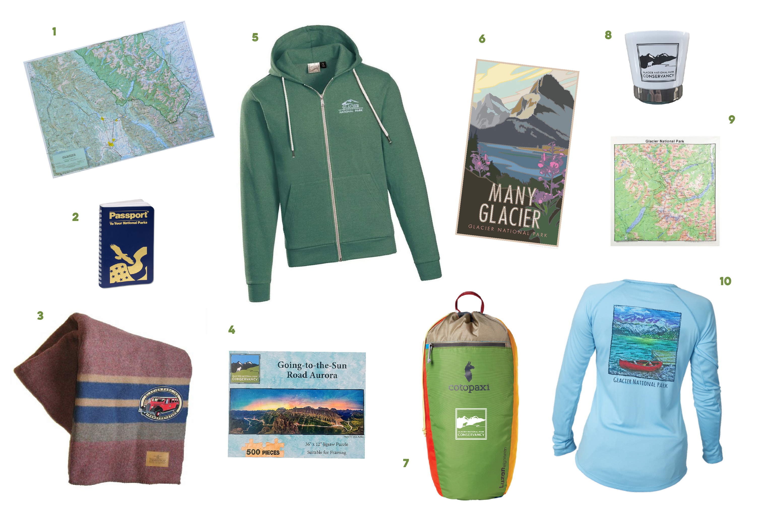 A collage featuring a variety of products supporting Glacier National Park including a zip hoodie jacket, long sleeve shirt, striped blanket, map products, and more